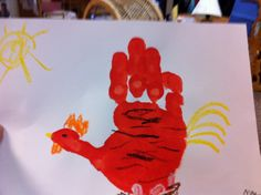 hand print art - The Little Red Hen