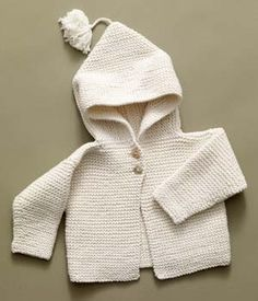 "Free Knitting Pattern: Tied Hoodie ""Nancy A. finished an off-white garter stitch hoodie with brown teddy bear buttons. Baby Sweater Knitting Pattern, Knit Baby Sweaters, Knitted Baby Clothes, Hoodie Pattern, Boys Sweaters, Baby Knits, Toddler Sweater, Cardigan Pattern, Knitting For Kids"