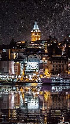 Animasyonlu Fotoğraf Places Around The World, Around The Worlds, Istanbul Turkey, Beautiful Landscapes, Landscape Paintings, Beautiful Places, Waterfall, Tower, Mansions