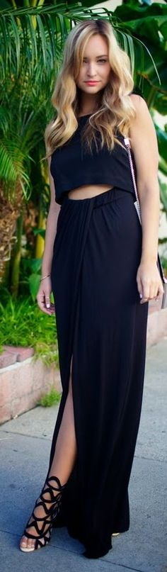 A.l.c. Black Deep V-back Sleeveless Wrap Skirt Maxi Dress by Late Afternoon