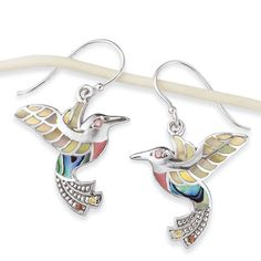Pearl and Abalone with CZ Silverplated Earrings
