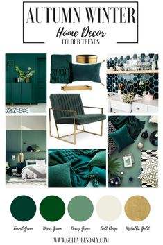Interior Decorating Advice To Use For Times To Come Autumn Winter interior home décor colour color trends green forest green dark green brass gold accessories accent velvet chair ikea sideboard hexagonal kitchen tiles cushion blankets bedroom Living Room Designs, Living Room Decor, Bedroom Decor, Bedroom Ideas, Interior Decorating, Interior Design, Color Interior, Autumn Decorating, Decorating Tips