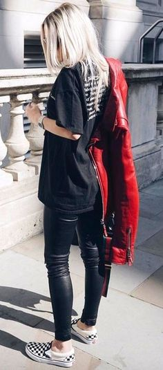 #winter #outfits red leather jacket, black leather leggings, and black crew-neck ts-hirt