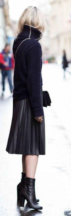 Black Accordion Pleat Knee-length Skirt by LadyAddict