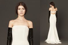 The contour back accent is a playful addition to this strapless silk crêpe gown. @fsbridal