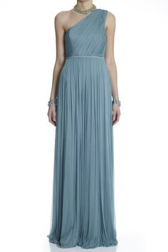 Just gorgeous! Lisa Ho - Silk Tulle One Shoulder Gown Teal Bridesmaid Dresses, Blue Bridesmaids, Greek Goddess Dress, Grecian Goddess, Dusky Blue Wedding, Silk Dress, Dress Up, Toga Dress, One Shoulder Gown