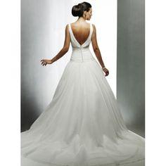 Dropped Waist Tank Sleeves V-Neck Beaded Organza A-Line Wedding Dresses