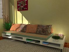 Pallets e Caixotes para decoração! another pallet sofa with built in side table with wheels. needs lights under it. The post Pallets e Caixotes para decoração! appeared first on Pallet Ideas. Pallet Furniture Bed, Wood Furniture Living Room, Diy Pallet Sofa, Diy Pallet Furniture, Diy Pallet Projects, Pallet Ideas, Home Furniture, Furniture Ideas, Sofa Ideas