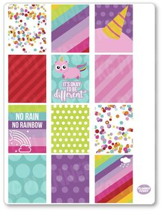 Unicorn Kitty Full Boxes Planner Stickers