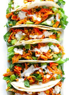 Buffalo Chicken Tacos -- quick, healthy and clean and easy to make, and always a crowd favorite! Pollo Buffalo, Buffalo Chicken Tacos, Bbq Chicken, Cooked Chicken, Healthy Chicken, Asian Chicken, Mexican Chicken, Shredded Chicken, Grilled Chicken