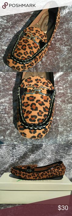 NWT Annie's Brown Leopard Loafer 8WW NWT Brown leopard loafer. Beautiful gold jewelry like adornments across the vamp. Bold but versatile Leopard print. White contrast stitching along the seams. Rubber outsole for traction and a padded foot bed makes these cute loafers comfortable and functional as well as fun. Would look as adorable on your day off with a pair of leggings or jeans as with a skirt at the office. 8WW. Thanks for visiting my closet. I always entertain offers and I love to…