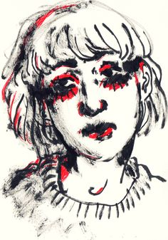 """st-pam: """" Ink brush & red fineliner drawing 2017 """""""