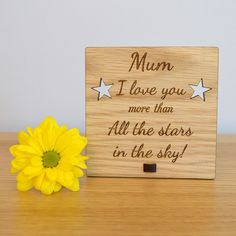 I Love You More Than All The Stars In The Sky - Mothers Day Plaque for Mum Mummy - Pretty Personalised