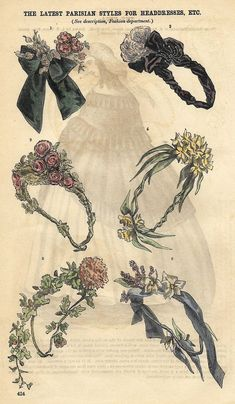 Godey's Fashion Plate - c1860 - LATEST PARISIAN STYLES FOR HEADDRESSES - H-C Lithograph