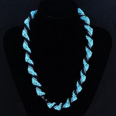 Dutch spiral necklace in black, silver and turquoise quality seed beads