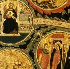 Pacino di Bonaguida, Tree of Life, c. 1310, tempera and gold leaf on panel.  Galleria dell'Accademia, Florence