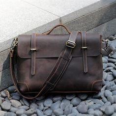 """Men's Vintage Leather Briefcase / Messenger / 13"""" 15"""" MacBook 13"""" 14"""" Laptop Bag"""