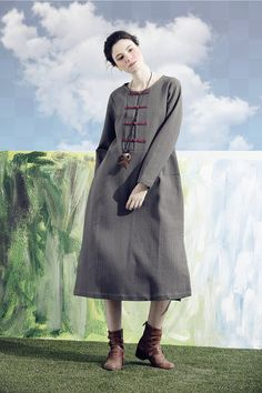 grey dress long tunic dress linen dress in grey by camelliatune