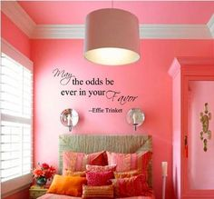 May the Odds Be Ever In Your Favor - Effie Trinket - Hunger Games Vinyl Wall Quote Decal by All About Vinyl, http://www.amazon.com/dp/B008GO99CM/ref=cm_sw_r_pi_dp_p4Gsqb1ZDA2FF