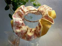 "Japanese hand kawaii shushu / Reversible and Frilled Scrunchy / Scrunchie - 3.9"" (10cm) / #12 by YuminaCafe, ¥500"