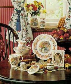 Brambly Hedge dishes by Royal Doulton---I have the cups and saucers, but hope to get the teapot someday! My favorites for tea parties! Brambly Hedge, China Tea Cups, Peter Rabbit, Beatrix Potter, Royal Doulton, Tea Parties, Royal Albert, China Porcelain, Serveware