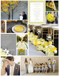 yellow and grey wedding ideas - Google Search
