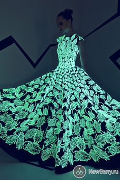 A collection of unique evening dresses Haute Couture Fall-Winter 2015-2016 fashion house of Lebanese Rami Kadi.  The outfits are decorated with hand-embroidered beetles and spiders, and many spectacular elements of dresses glow in the dark, in imitation of fireflies.