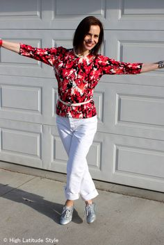 #over40fashion #over50fashion ageless floral print with white jeans | High Latitude Style | http://www.highlatitudestyle.com