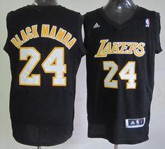 Los Angeles Lakers 24 Kobe Bryant Black Mamba Fashion Swingman Black