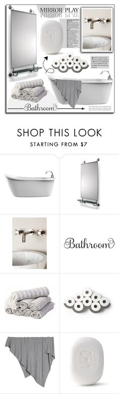 """""""Mirror Play. Bathroom."""" by patria ❤ liked on Polyvore featuring interior, interiors, interior design, home, home decor, interior decorating, Barefoot Dreams, Diptyque, bathroom and Home"""