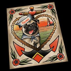 Image result for pug tattoo flash traditional american