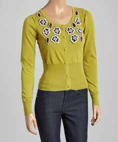 Take a look at this Green Floral Embroidered Cardigan on zulily today!