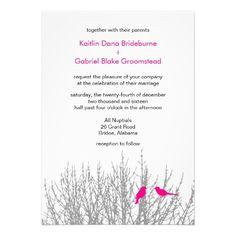 Bright Pink Winter Design Weddings Customizable Personalized Invite