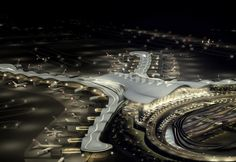 Abu Dhabi's International airport is set to grow significantly larger with a new facility, the Midfield Terminal Complex designed by Kohn Pedersen Fox Architects. The terminal, along Architecture Building Design, Architecture Magazines, Organic Architecture, Abu Dhabi, Middle East Destinations, New Aircraft, World Religions, Dubai Uae, United Arab Emirates