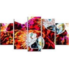 DesignArt Macaw Parrot Duo 5 Piece Graphic Art on Wrapped Canvas Set