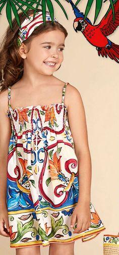 128f90e142e9 DOLCE  amp  GABBANA Kids Girls Blue  amp  Green  Maiolica  Mini Me Dress