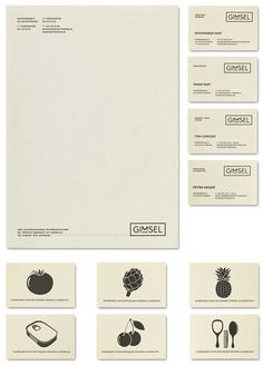 La papeterie de l'identité visuelle et les cartes de visite du magasin organic Gimsel.