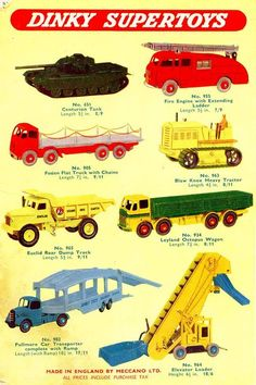 1958 Dinky Toys advert. Tiny vehicles. Of these eight, the only ones I didn't have were the Leyland Octopus and the Elevator Loader.