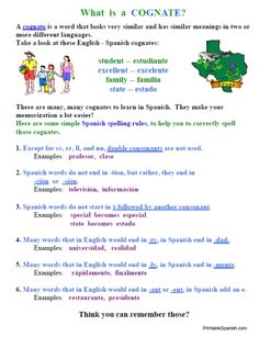 NEW Printable Spanish FREEBIE of the Day: Cognates lesson, list, and worksheet packet from PrintableSpanish.com