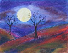 A bright harvest moon lights up the rolling fall hills. There are a few birds roosting in the trees.