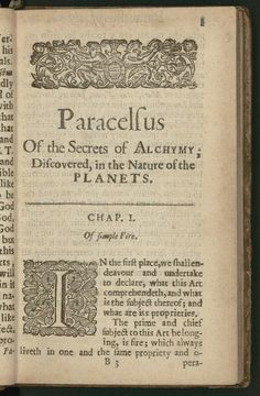 """Alchemist. """"Of the supreme mysteries of nature,"""" by Paracelsus. 1656. Library of Congress Rare Book and Special Collections Division."""