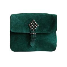 1980's YVES SAINT LAURENT green suede bag with metal studs