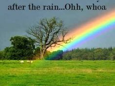 Rainbow- Southborder (lyrics) never knowing what lies ahead, say hello goodbye to a friend,  after the rain , take a little time, listen, can you feel me,  such a wonderful place to be, ohh, whoa, can't you see, life goes on and on,   photo rainbow over a tree,
