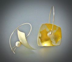 Satellite Earrings by Judith Neugebauer: Gold, Silver & Pearl Earrings available at www.artfulhome.com