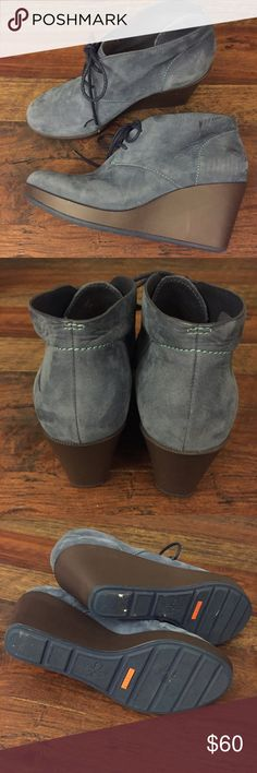 """Cole Haan steel blue bootie wedges these bad boys are in perfect condition. upper is a leather-like material and the soles are nike air technology, so they should be super comfy! heel is about 3"""". Cole Haan Shoes Ankle Boots & Booties"""