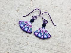 Quarter Cut Magenta Teal and Blue Starburst Polymer Clay Earrings by PatchWorkClay on Etsy