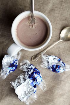 Lindt Hot Chocolate - The easiest most delicious hot chocolate you'll ever make! from @This Week for Dinner (please note that Lindt truffles are not gluten-free - the gluten-free label above is automated through pinterest)