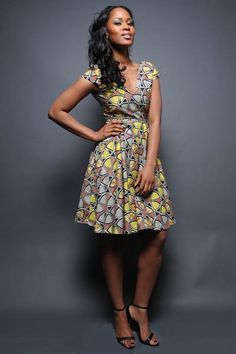 V-Neck Classic Swing Dress african print dress Africa fashion designer African Print Dresses, African Fashion Dresses, African Dress, African Prints, African Outfits, Ghanaian Fashion, African Clothes, African Colors, Nigerian Fashion