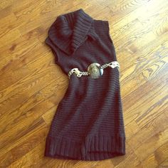 Black Knit Cowl Sweater Dress Really pretty and in great condition. Soft. No snags, holes, stains or the like. Very minimal wear. Belt not included. Anthropologie Dresses