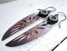 Flower Pattern Tribal Shield Earrings  by Lost Sparrow Jewelry